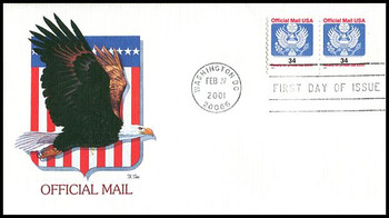 O158 / 34c Eagle Official Mail Coil Pair Fleetwood 2001 FDC