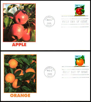 3491 - 3492 / 34c Apples and Oranges Set of 2 Fleetwood 2001 FDCs