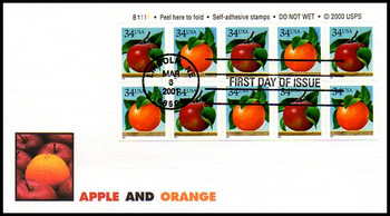 3492a / 34c Apples and Oranges Booklet Pane of 10 Fleetwood 2001 FDCs