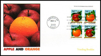 3494b / 34c Apples and Oranges Vending Booklet Pane of 4 Variation #1 Fleetwood 2001 FDC