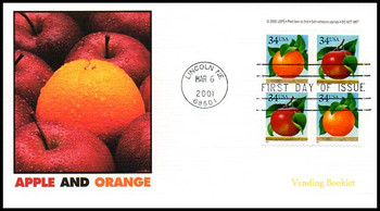 3494b / 34c Apples and Oranges Vending Booklet Pane of 4 Variation #2 Fleetwood 2001 FDC