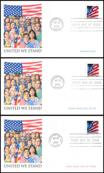 3549 / 3550 / 3550a / 34c United We Stand / US Flag Set of 3 Fleetwood 2001 FDCs