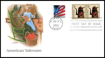3612 / 5c American Toleware Coil Pair Fleetwood 2002 First Day Cover