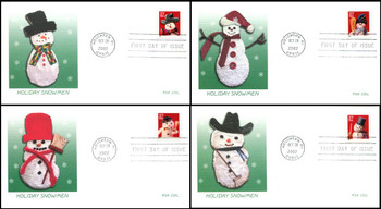 3680 - 3683 / 37c Snowman  PSA Coil Set of 4 Fleetwood 2002 First Day Covers