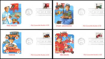3626 - 3629 / Non-Denominated ( .37c ) Antique Toys PSA Convertible Booklet Singles Set of 4 Fleetwood 2002 FDCs
