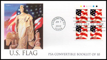 3634a / 37c U.S. Flag PSA Convertible Booklet Pane of 4 Fleetwood 2002 FDC