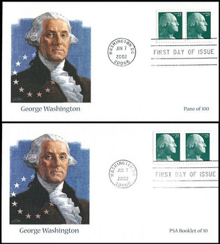 3616 / 3618 / 23c George Washington Sheet Pair and PSA Booklet Pair Set of 2 Fleetwood 2002 First Day Covers