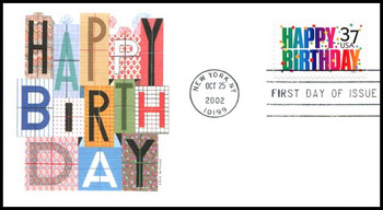 3695 / 37c Happy Birthday PSA 2002 Fleetwood First Day Cover