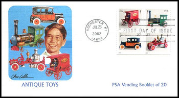 3645h / 37c  Antique Toys PSA Vending Booklet Pane of 4 Fleetwood 2002 First Day Cover