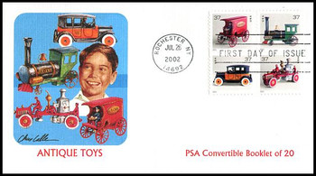 3645e / 37c  Antique Toys PSA Convertible Booklet Pane of 4 Fleetwood 2002 First Day Cover