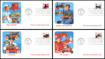 3642 - 3645 / 37c  Antique Toys PSA Convertible Booklet Set of 4 Fleetwood 2002 First Day Covers