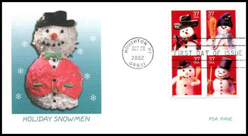 3679a / 37c Snowman PSA Block of 4 Fleetwood 2002 First Day Cover