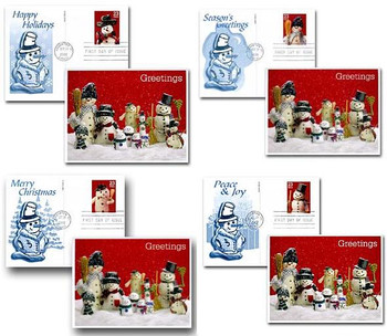 UX386 - UX389 / 23c Snowmen Set of 4 Fleetwood 2002 Postal Card First Day Covers