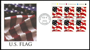 3637a / 37c U.S. Flag PSA ATM Booklet Pane of 6  Fleetwood 2003 First Day Cover