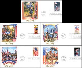 3776 - 3780 / 37c Old Glory Prestige Booklet Singles Set of 5 Fleetwood 2003 FDCs