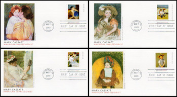 3804 - 3807 / 37c Mary Cassatt Paintings Set of 4 Fleetwood 2003 First Day Covers
