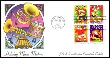 3824b / 37c Holiday Music Makers PSA Double-Sided Convertible Booklet Pane of 4 : Christmas Series Fleetwood 2003 FDC