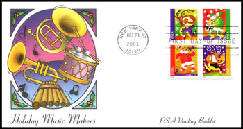 3828b / 37c Holiday Music Makers PSA Vending Booklet Pane of 4 : Christmas Series Fleetwood 2003 First Day Cover