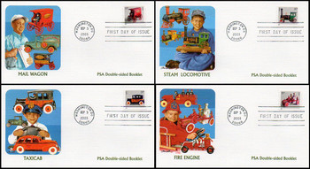 3642a - 3645f / 37c Antique Toys PSA Double-Sided Booklet Set of 4 Fleetwood 2003 First Day Covers