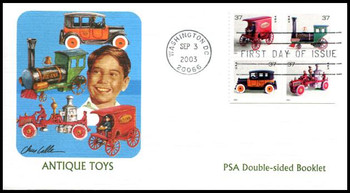 3645g / 37c Antique Toys PSA Double-Sided Booklet Pane of 4 Fleetwood 2003 First Day Cover