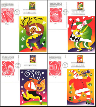 UX401 - UX402 / 23c Holiday Music Makers Set of 4 : Christmas Series Fleetwood 2003 Postal Card First Day Covers