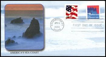 3785a / Non-Denominated (5c) Sea Coast PSA Coil 2004 Fleetwood FDC