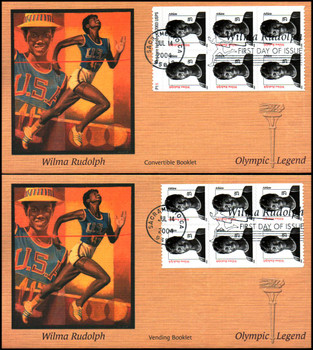 3436b / 23c Wilma Rudolph  Convertible and Vending Booklet Panes of 6 Set of 2 Fleetwood 2004 FDCs