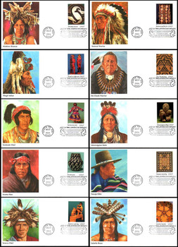 3873 a - j / 37c Art of the American Indian Set of 10 Fleetwood 2004 First Day Covers