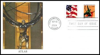 3770 / Non - Denominated ( 10c ) Atlas PSA Single from Coil of 3,000 Dated Sept 13,  2004 Fleetwood FDC