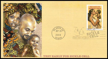 3877 / 37c Sickle Cell Anemia Disease Awareness PSA 2004 Fleetwood FDC