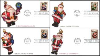 3883 - 3886 / 37c Christmas Santa Ornaments PSA : Christmas Series Set of 4 Fleetwood 2004 FDCs