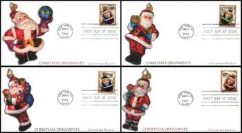 3883v - 3886v / 37c Christmas Santa Ornaments Convertible Booklet Singles : Christmas Series Set of 4 Fleetwood 2004 FDCs