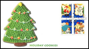 3952a / 37c Holiday Cookies New York, NY Postmark Block of 4 Fleetwood 2005 First Day Cover