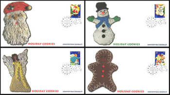 3953 - 3956 / 37c Holiday Cookies Minneapolis, MN Postmark Convertible Booklet Singles Set of 4 Fleetwood 2005 FDCs