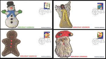 3957 - 3960 / 37c Holiday Cookies Minneapolis, MN Postmark Vending Booklet Singles Set of 4 Fleetwood 2005 FDCs
