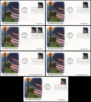 3965 - 3975 / 39c Non-Denomited Lady Liberty and Old Glory Set of 7 Fleetwood 2005 FDCs