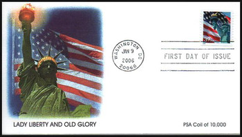 3980 / 39c Statue of Liberty and Flag Single From Coil of 10,000 Jan 9, 2006 Fleetwood FDC