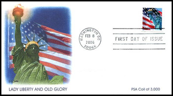 3980 / 39c Statue of Liberty and Flag Single From Coil of 3000 Feb 8, 2006 Fleetwood FDC
