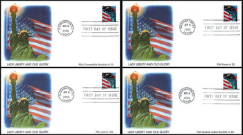 3978 - 3985a / 39c Statue of Liberty and Flag Set of 4 Fleetwood 2006 FDCs