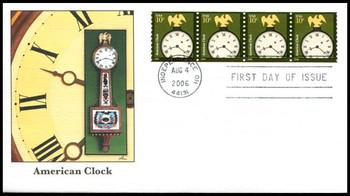 3762 / 10c American Clock Strip of 4 Fleetwood 2006 FDC