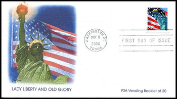 3985b / 39c Statue of Liberty and Flag Single 2006 Fleetwood FDC