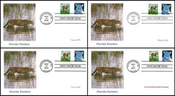 4137 - 4142 / 26c Florida Panther Set of 4 Fleetwood 2007 FDCs