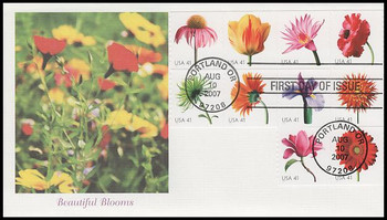 4175a / 41c Beautiful Blooms Coil Strip of 10 Fleetwood 2007 FDC