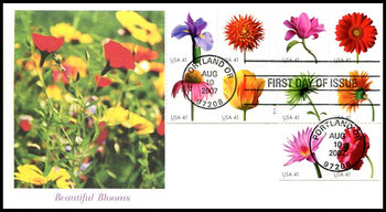 4185a / 41c Beautiful Blooms Booklet Block of 10 Fleetwood 2007 FDCs