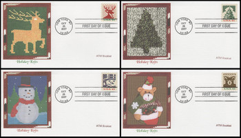 4215 - 4218 / 41c Holiday Knits : Holiday Celebration Series ATM Booklet Singles Set of 4 Fleetwood 2007 FDCs