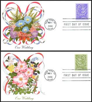 3998 - 3999 / 39c and 63c Wedding Doves Set of 2 Fleetwood 2006 FDCs