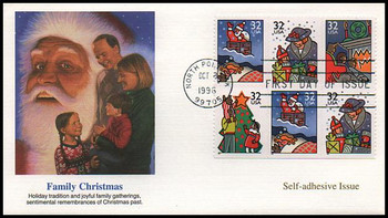3116a / 32c Christmas Family Scenes PSA Se-Tenant Booklet Pane of 6 Variation #2 : Christmas Series 1996  Fleetwood First Day Cover