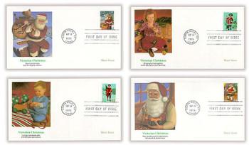 3004 - 3007 / 32c Santa and Children Sheet Issue Set of 4 Christmas Series 1995 Fleetwood FDCs