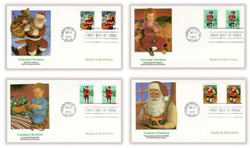3004 - 3007 and 3004b - 3007b / 32c Santa and Children Sheet and Booklet Combo Set of 4 Christmas Series 1995 Fleetwood FDCs