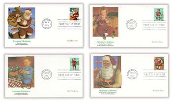 3004b - 3007b / 32c Santa and Children Booklet Issue Singles Set of 4 Christmas Series 1995 Fleetwood FDCs